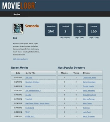MovieLogr member page screenshot